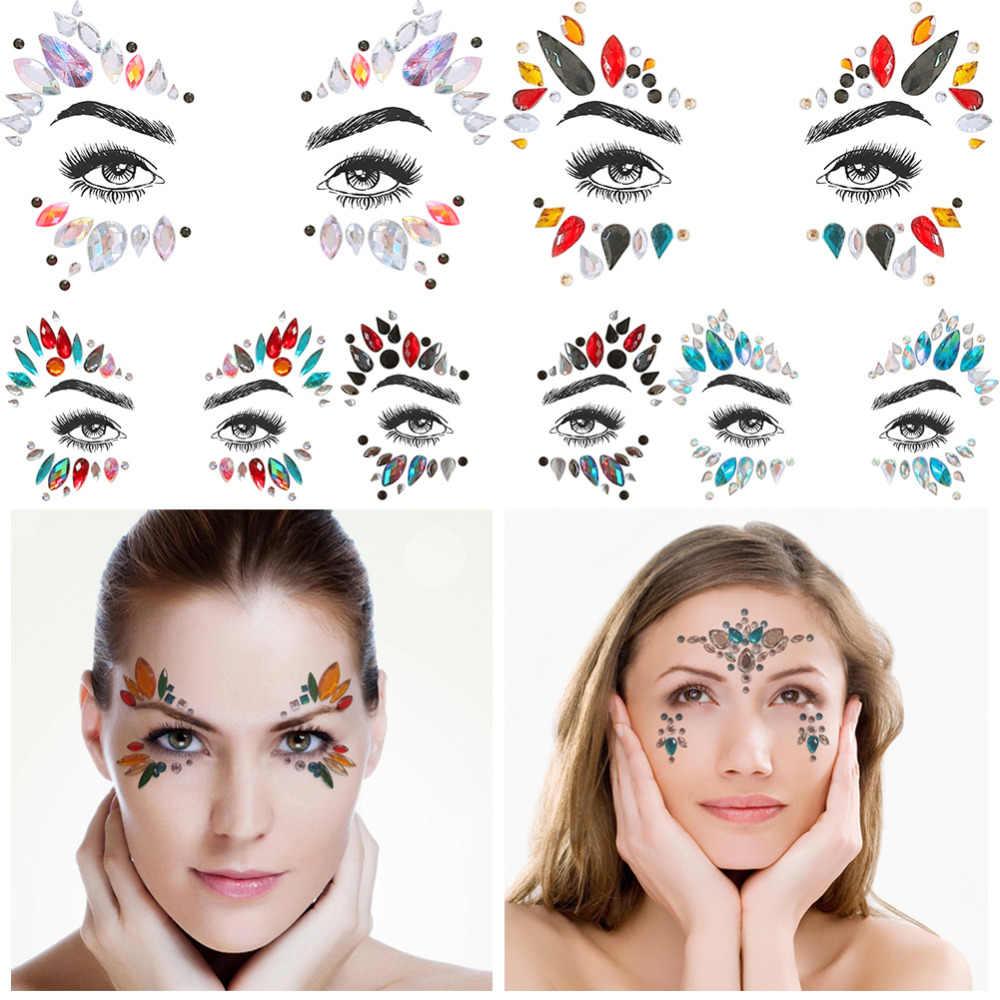 c95da6253b 1pc Adhesive Temporary Tattoo Sticker Face Jewels Festival Party Decals  Body Gems Rhinestone Glitter Tattoos Stickers Paster