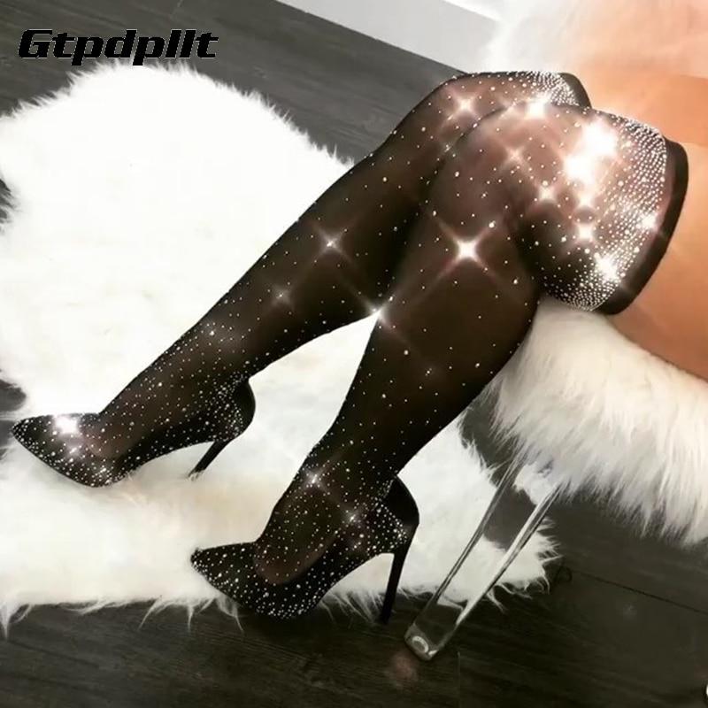 Gtpdpllt Diamond Mesh Transparent Sexy Stockings 2018 Women High-grade Velvet 54cm Black Thigh High Stockings Pantyhose