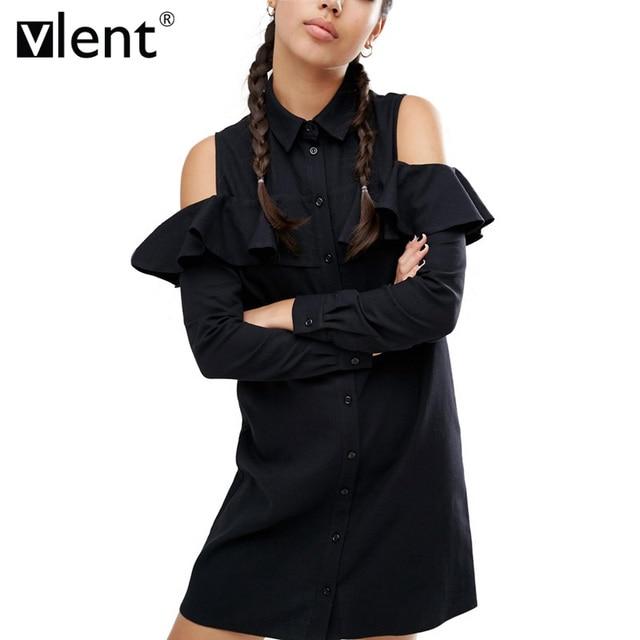 Sytiz Сексуальная плеча с длинным оборками рукавом платье для женщин; большие размеры Осень короткие черные Платья для женщин 90 s девушка опрятный повседневные платья