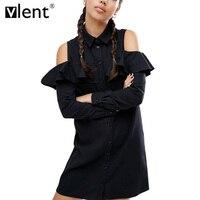 Vlent Sexy Off Shoulder Long Ruffles Sleeve Shirt Dress Women Plus Size Autumn Short Black Dresses