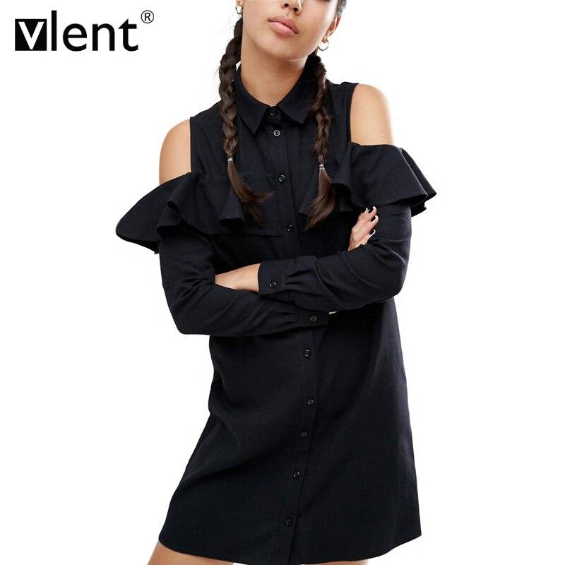 Vlent sexy hombro largo volantes camisa de manga dress mujeres Plus Tamaño de Ot