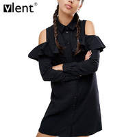 Vlent Sexy Off Shoulder Long Ruffles Sleeve Shirt Dress Women Plus Size Autumn Short Black Dresses