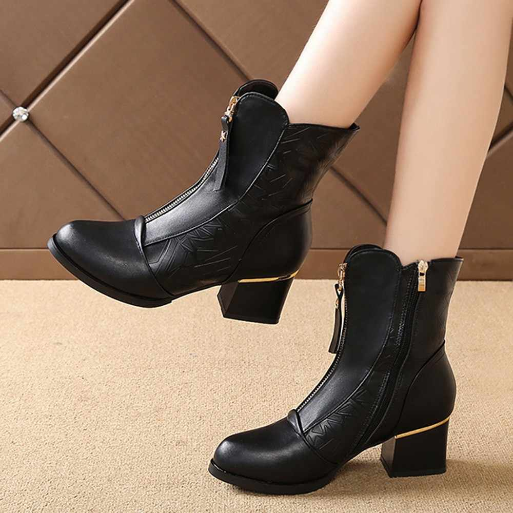 YOUYEDIAN women  Bare Boot Female British High-Heeled Boots Cotton Shoe High-Heeled Boots Cotton Shoe pu leather for women  #a35