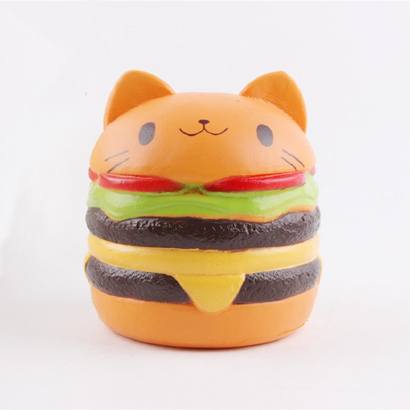 Hot Jumbo Squishy Squeeze Slow Rebound Toy PU Simulation Cute Burger Cat Anti-stress Decompression Toys Or Gifts For Children