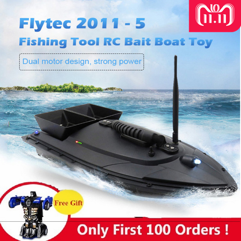 Flytec 2011-5 Fishing Tool Smart RC Bait Boat Toy Dual Motor Fish Finder Fish Boat Remote Control Fishing Boat Ship Speedboat mini fast electric fishing bait boat 300m remote control 500g lure fish finder feeder boat usb rechargeable 8hours 9600mah