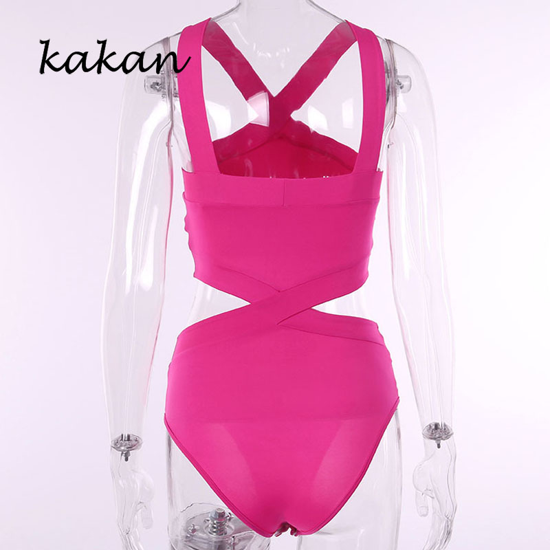 Kakan summer new best women 39 s triangle jumpsuit solid color cross backless sling jumpsuit bohemian beach jumpsuit in Bodysuits from Women 39 s Clothing
