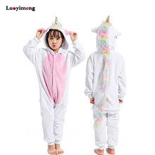 bcb5b197ba2 Los niños Kigurumi unicornio pijama de franela de invierno de dibujos  animados Animal Licorne punto mono niños niñas ropa de dor.