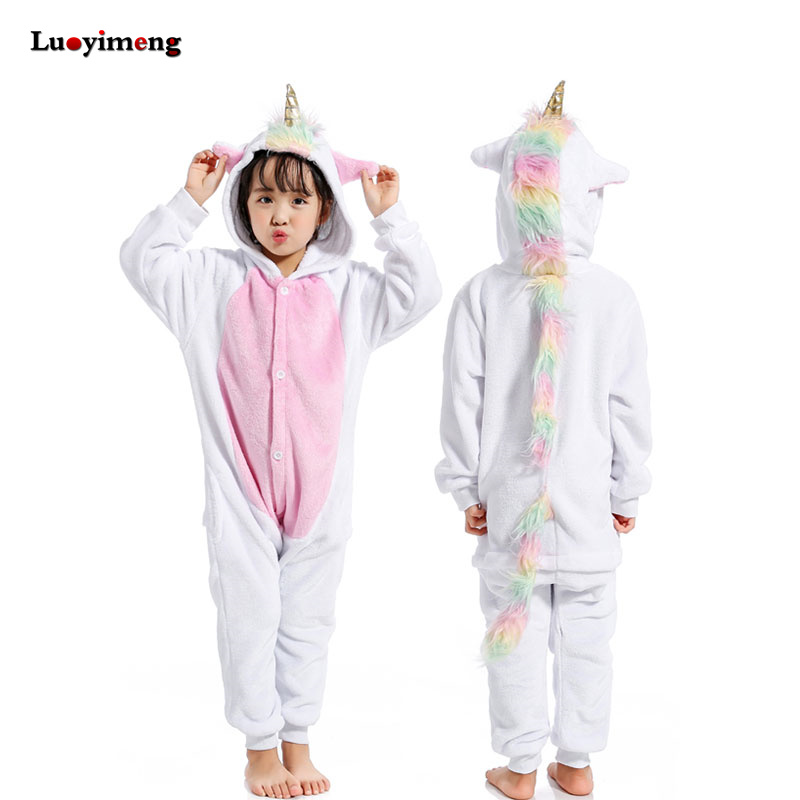 6f5f75f291 Los niños Kigurumi unicornio pijama de franela de invierno de dibujos  animados Animal Licorne punto mono niños niñas ropa de dormir pijamas de  bebé