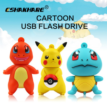 Pokemon cartoon 32GB 16GB usb flash drive 128GB pen drive 2.0cle usb stick 4gb 8gb memory stick pendrive 64gb flash disk as gift USB-флеш-накопитель