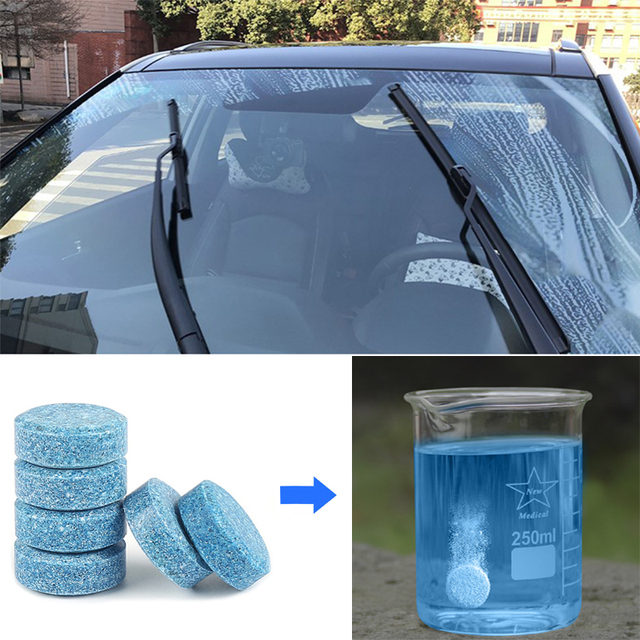 10 Pcs กระจกรถยนต์ใบปัดน้ำฝนเครื่องซักผ้าเข้มข้นเม็ดฟู่ Solid ทำความสะอาดหน้าต่างรถ Tidy แก้วของเหลวหน้าจอผงซักฟอก