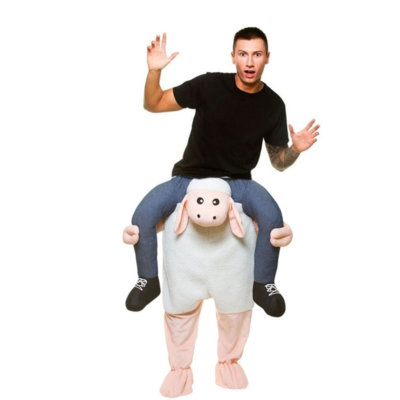 Adults Ride on Sheep Costume Sheep Lamb Mascot Costume Fancy Dress Outfit Halloween Christmas Cosplay Costumes disfraces adults