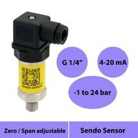 Transmisor de sensor de presión de 4 20mA  transductor de presión compuesto de 1 a 24 bar  conexión de rosca g 14  fuente de alimentación de 12  24 v  30v
