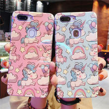Phone Case For OPPO R15 Dream Mirror R15X  R11s Cute Cartoon Pink Unicorn Pattern Siclione Back Cover A3 A5 A7X F9P Capa
