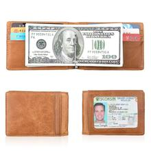 KEVIN YUN fashion vintage RFID men wallets genuine leather slim money clips