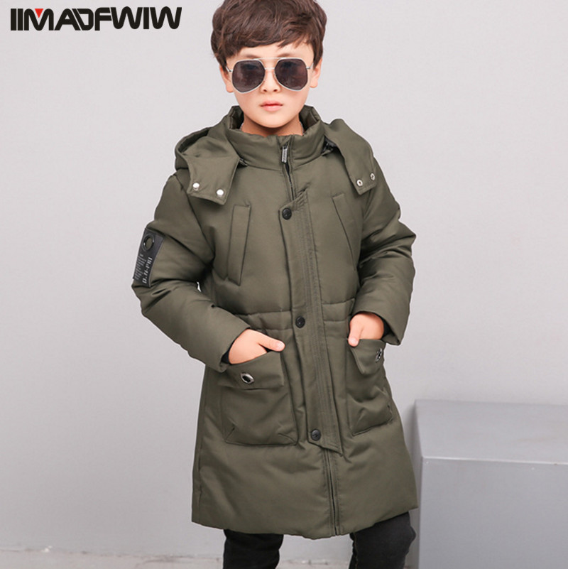 2017 Autumn Winter Children Outerwear Down Jacket For Boy Coat Fashion Hooded Detachable Thicken Color Black / Red / Army Gree big boy outdoor winter down jacket good quality kids coat hooded design children fashion casual thick outerwear