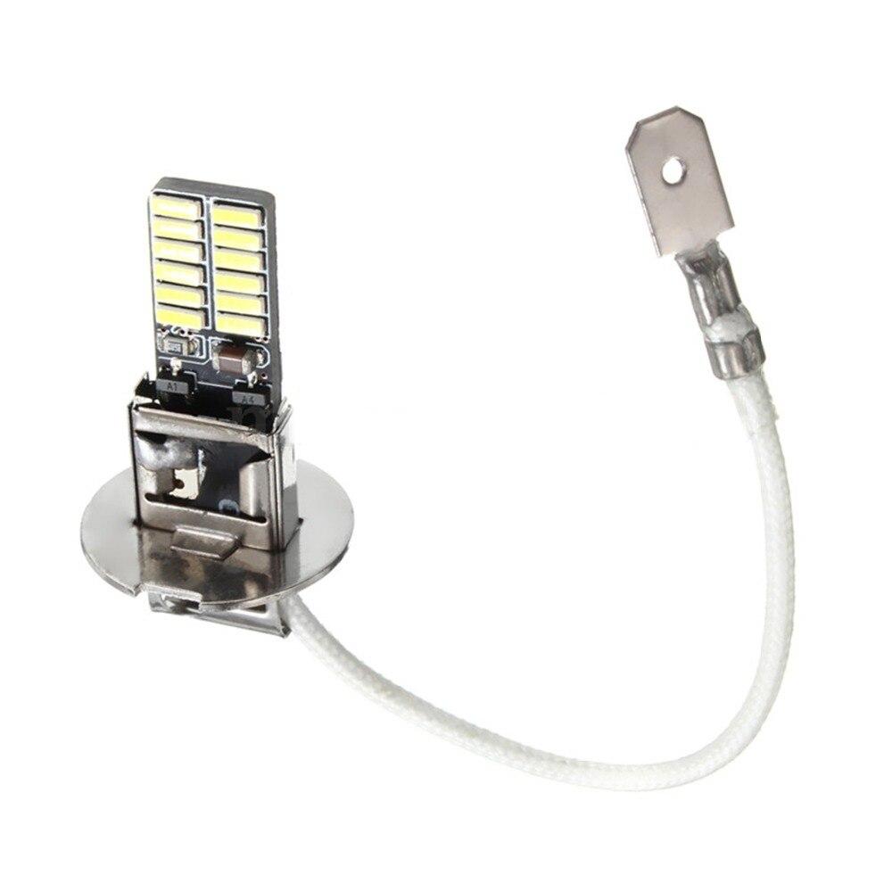 2x12V H3 белый 6500K 24-SMD 4014 светодиодный высокое Мощность лампы Противотуманные фары светильник фар дальнего света авто-Стайлинг Бесплатная дост...