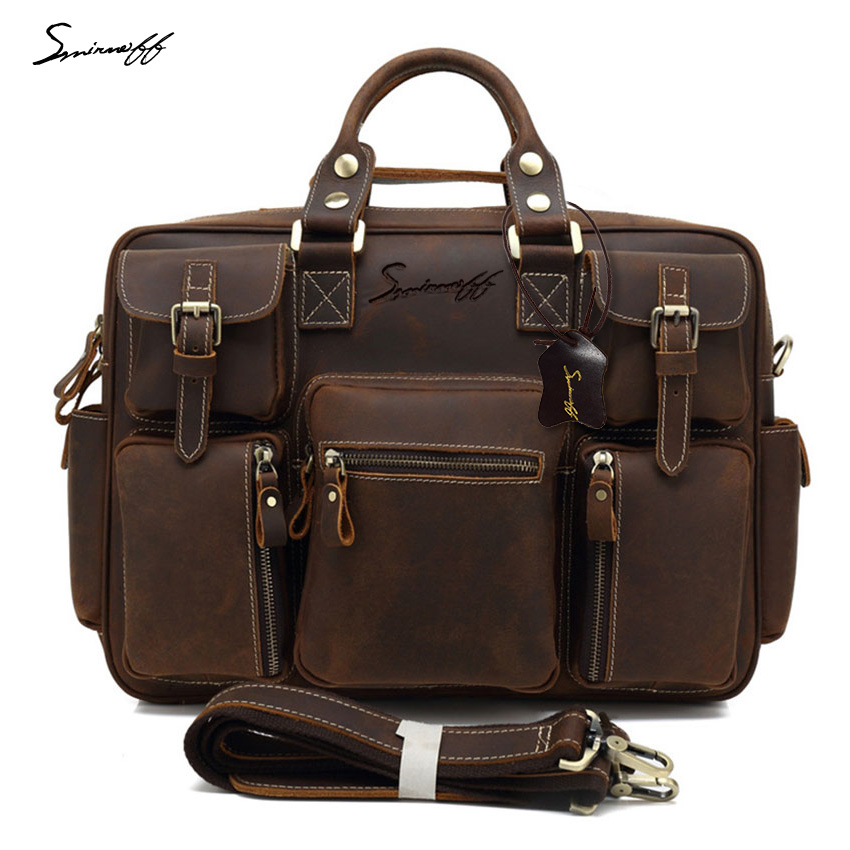 все цены на SMIRNOFF 2017 Large Bag Men Leather Handbag Zipper Muti Pockets Travel Tote Shoulder Bag Men's Casual Genuine Leather Handbag