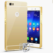 EDWO Ultra Slim 2 in 1 Phone Case For Huawei P8/P8 lite Luxury Metal Aluminum Frame+Acrylic Mirror cases anti-knock Back Cover