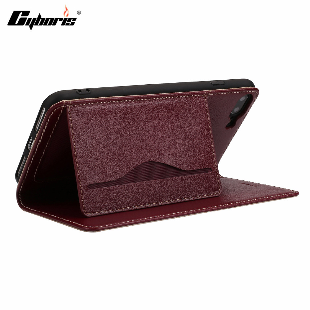 CYBORIS Luxury Business Top Genuine Leather Flip Case For iPhone7 8plus Ultra Slim capa for Apple iPhone7plus Wallet Card Holder