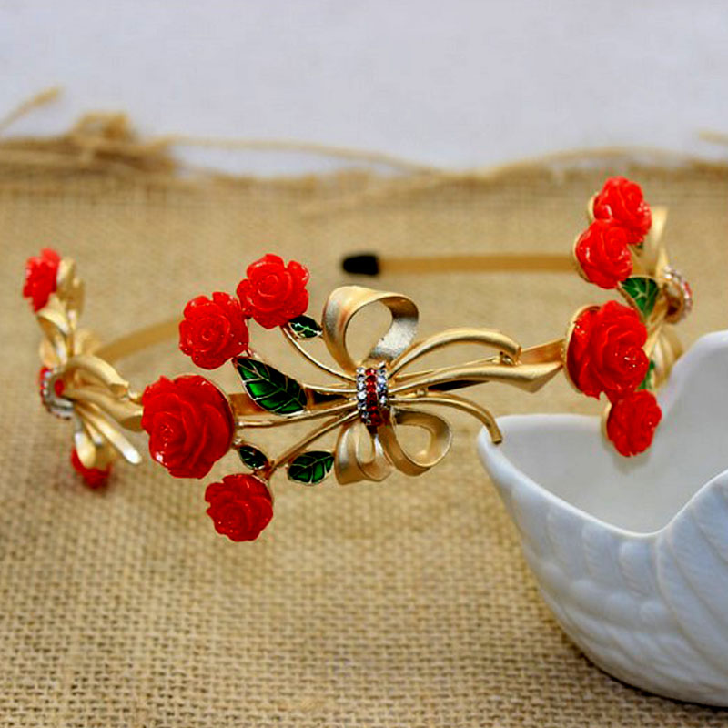 Baroque Style Hair Jewelry Gold Crystal Rhinestone Red Rose Hairband Women Wedding Crown Hair Accessories Headbands Bridal