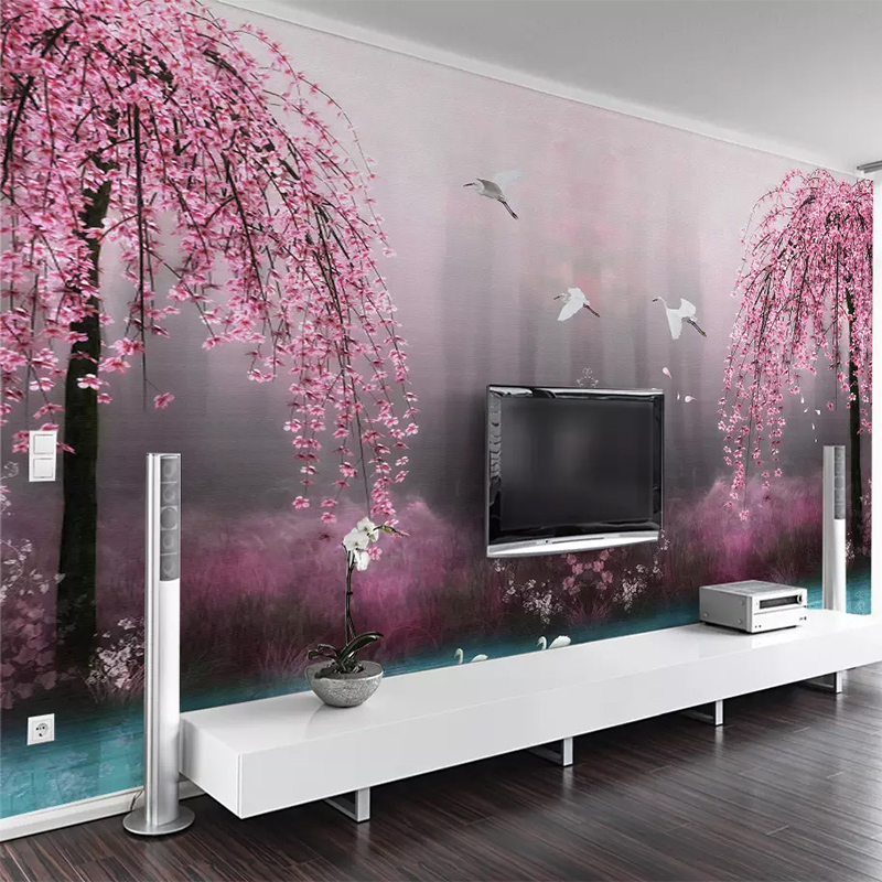 Custom Murals Wallpaper 3D Pink Cherry Blossom Swan Lake Scenery Photo Wall Papers Living Room TV Sofa Bedroom Background Wall