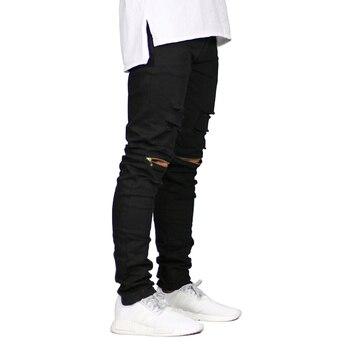 ddf02304c12 Для мужчин обтягивающие джинсы Рваные Дизайн мода байкер стрейч Джинсы для  женщин Застёжки-молнии уничтожены ...
