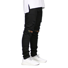 Men Skinny Jeans Ripped Design Fashion Biker Stretch Jeans Zippers Destroyed Hip Hop Jeans E5019