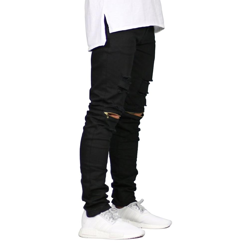 Men Skinny   Jeans   Ripped Design Fashion Biker Stretch   Jeans   Zippers Destroyed Hip Hop   Jeans   E5019