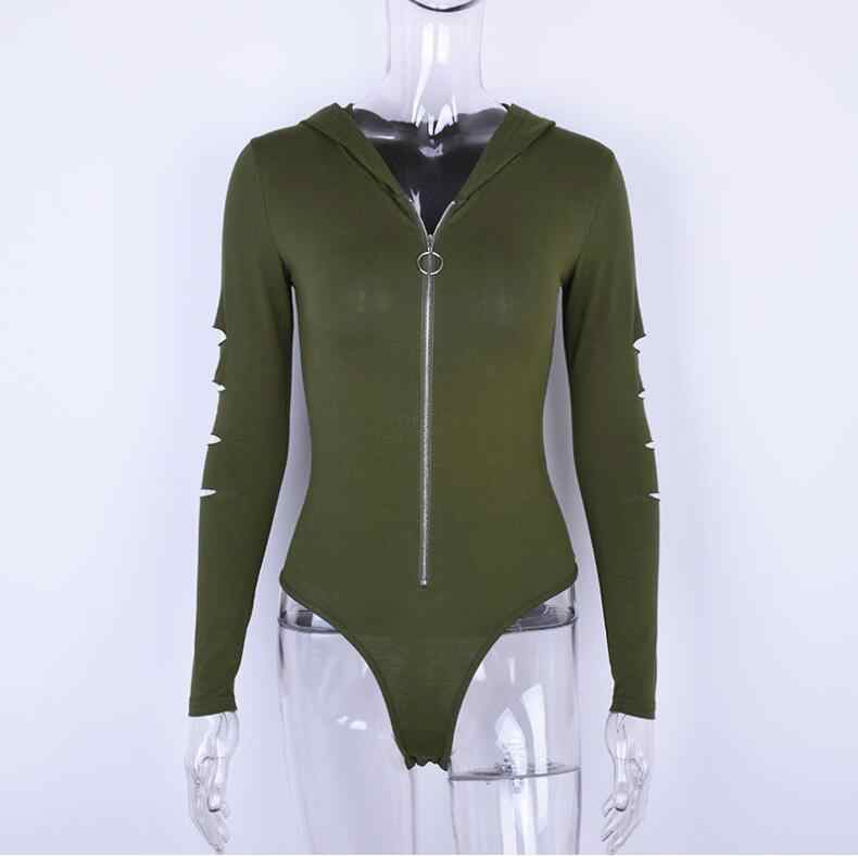 طويلة الأكمام مقنعين مثير قطع ارتداءها 2018 الخريف الشتاء المرأة سستة الجيش الأخضر الأبيض الصلبة هوديس الإناث الجسم