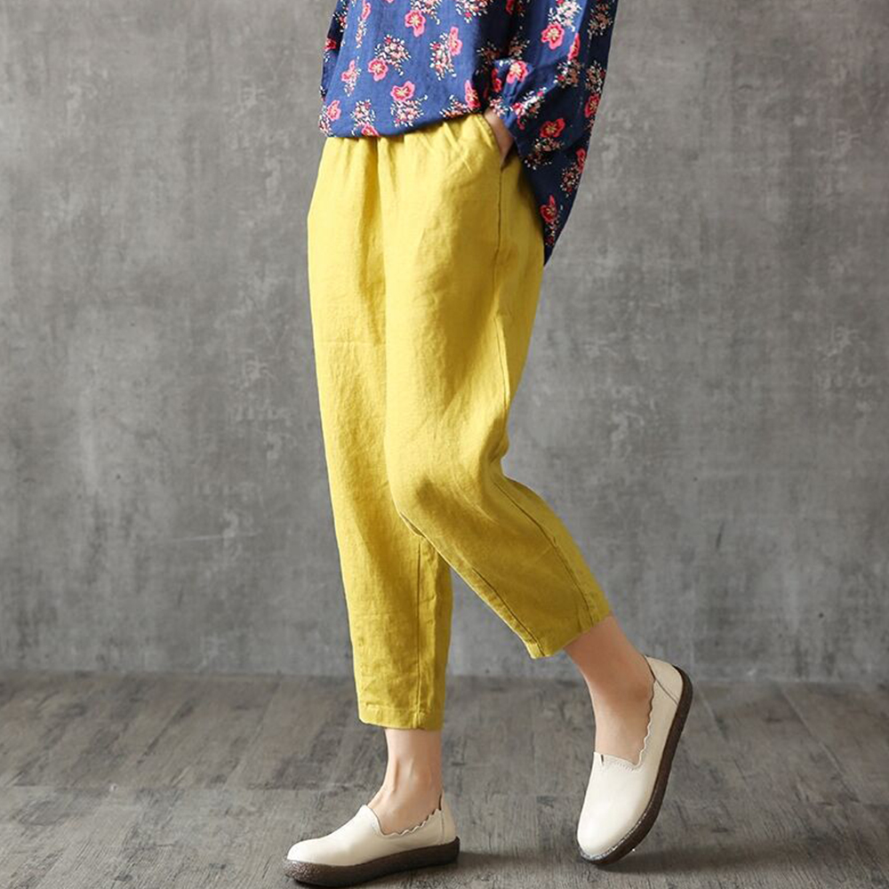Cotton Linen Women's Harem Pant Solid Pockets Trousers Casual Mid Waist Ankle-Length Pants Plus Size Loose Female Summer Pants