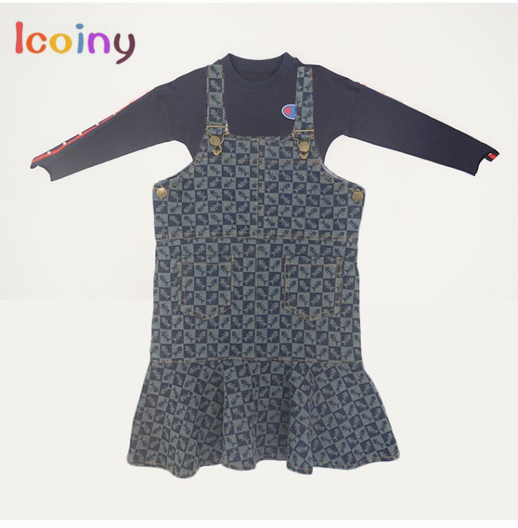 Children's Cloth Sets Girls Long Sleeve t shirt+ sling dress Kids Tee sets Girl cotton tops+ fishtail Skirt Braces Skirt Suits checkered fishtail hem skirt