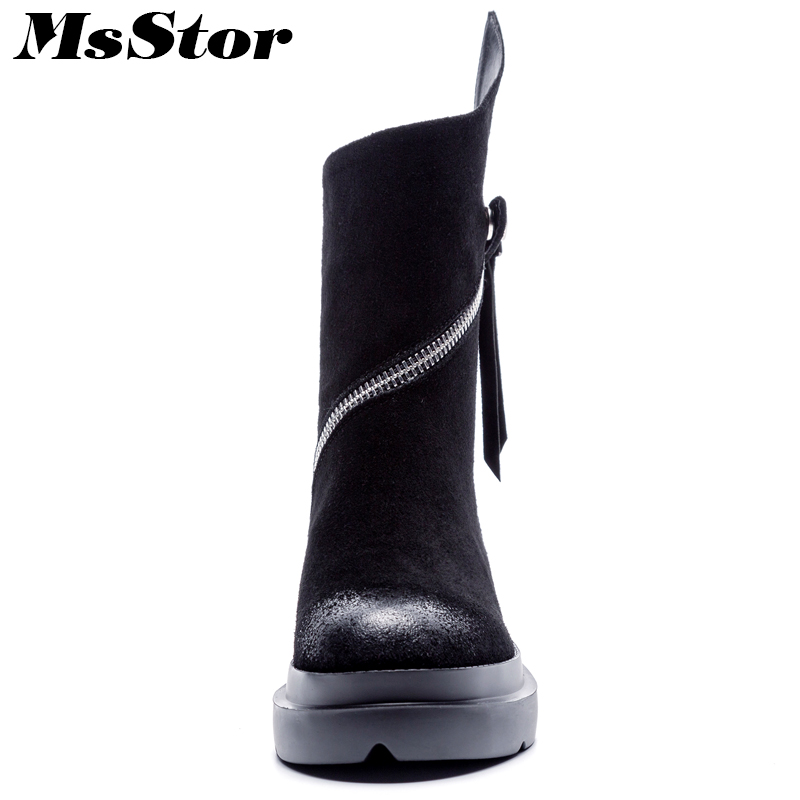 Martin Bottes Black Métal Chaussures Fond Msstor De Pour Boucle Bout Boot Black Glissière Leather Épais Cheville Fille Plush Mode Femmes Rond 2018 En short 6bfgvIY7y