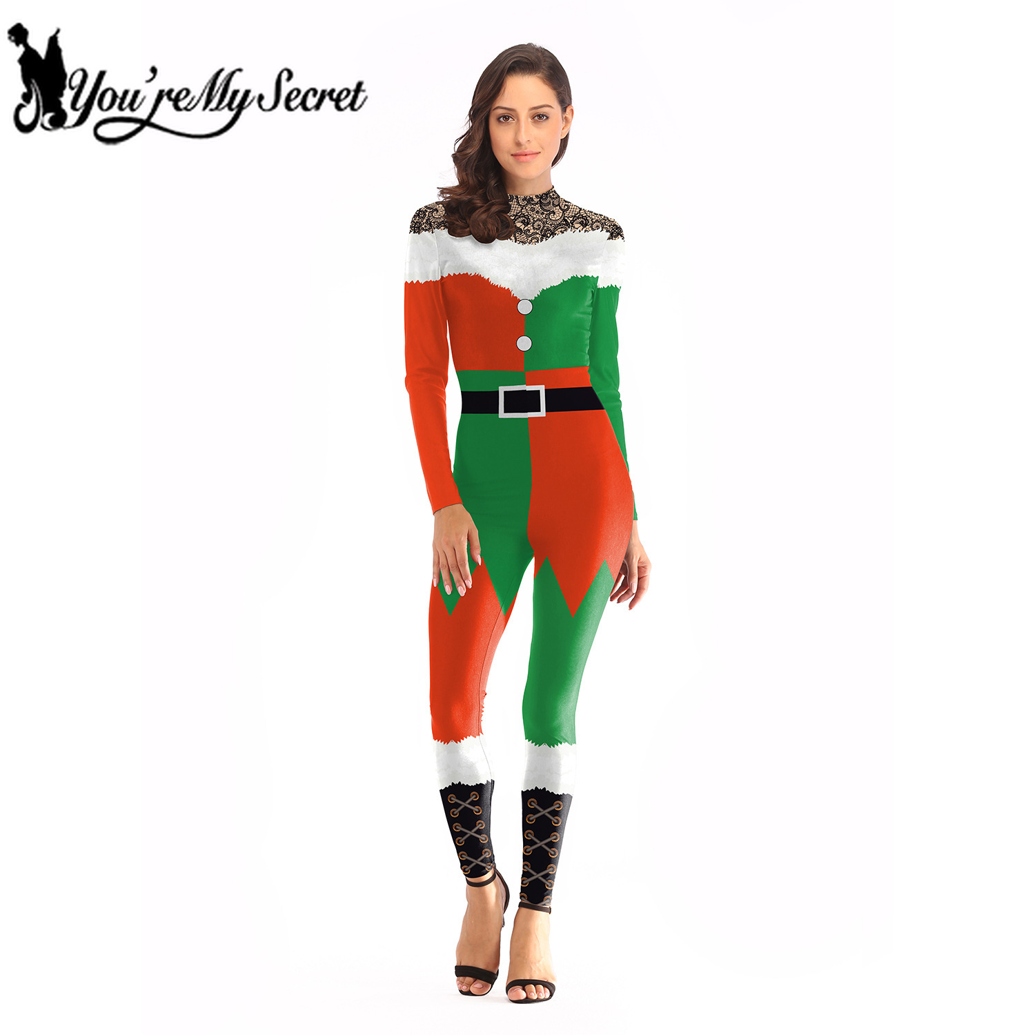 [You're My Secret] 2019 Christmas Costumes for Women 3D Red Green Splice Fashion Design Sexy Slim Female Holiday Party Bodysuit
