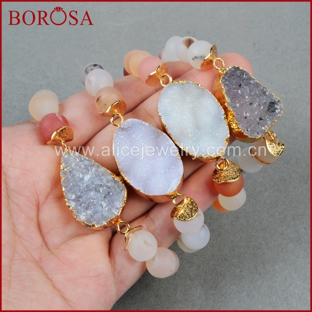 Borosa Natural Crystal Druzy Bracelet Stone 10mm Colorful Beads Handcraft Adjule 607