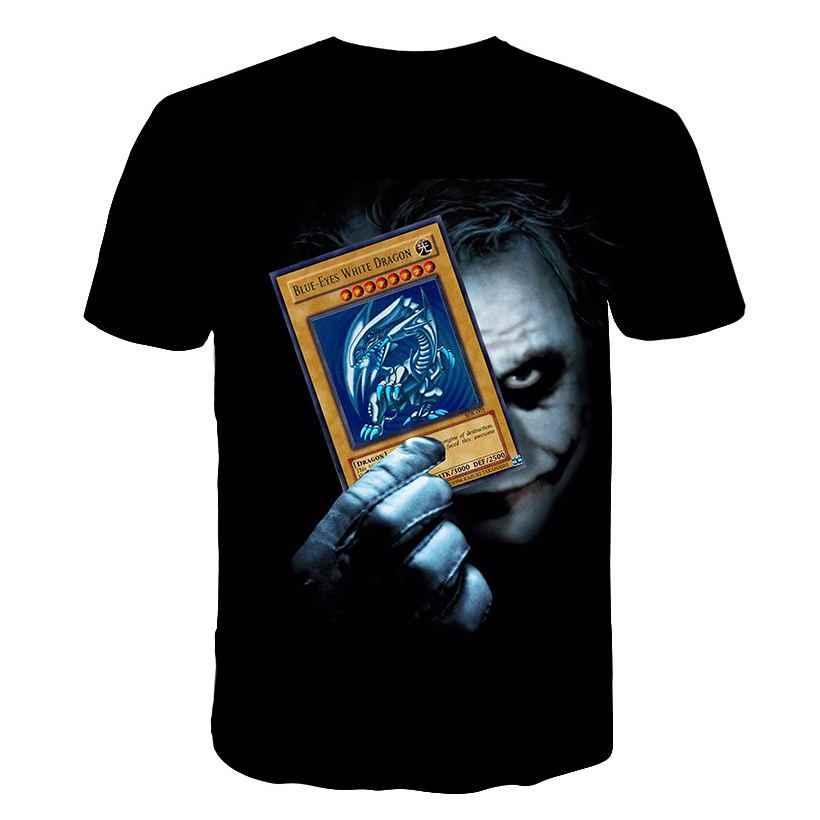 Новинка 2019, мужская летняя футболка с принтом Джокера и покера, Мужская футболка с короткими рукавами, 3D футболка, Повседневная дышащая черная футболка, большие размеры 5XL