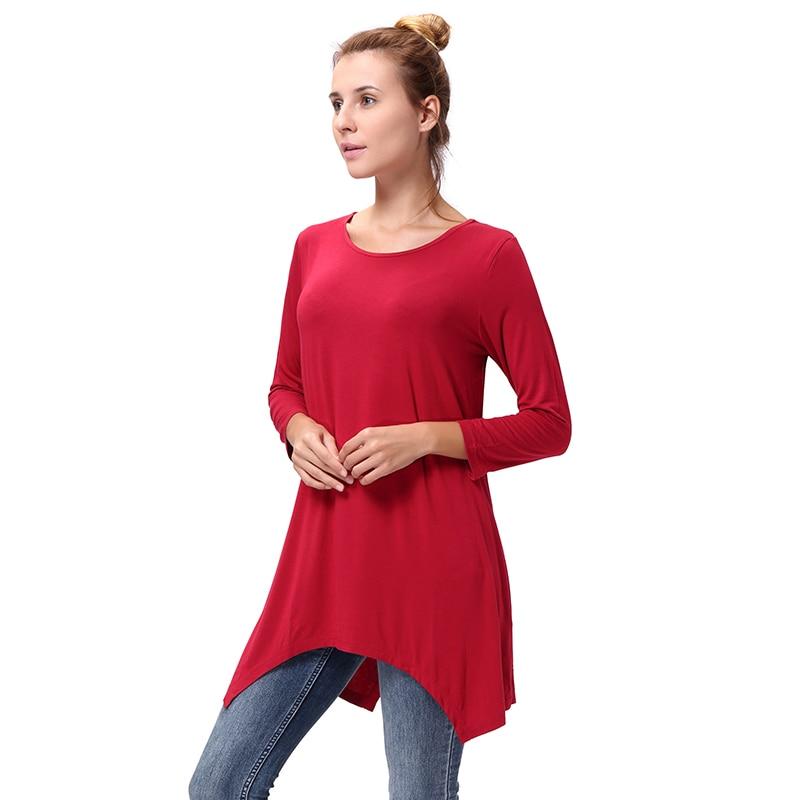 b88b541a SAYFUT Women's O Neck Pleated Solid Color Loose 3/4 Sleeve Asymmetric Hem  Tops High Waist Casual Basic T Shirts Plus Size