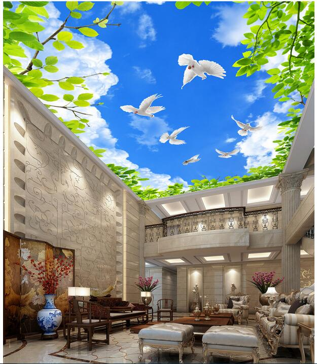 Custom photo 3d ceiling murals wallpaper Non-woven European Blue sky green leaves pigeons painting room wallpaper for walls 3 d custom 3d ceiling wallpaper white polygon brick wall wallpaper for walls 3 d ceiling murals wallpapers for living room