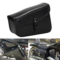 NEVERLAND Black Synthetic PU Leather Left Right Side Motorcycle Saddle Bags For Harley Sportster Motor Saddlebag To Store Tool
