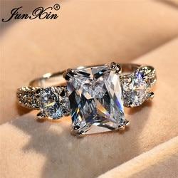 JUNXIN Female Luxury Swarovski Zircon Stone Ring Fashion Promise Wedding Big Rings For Women Vintage White Gold Filled Jewelry