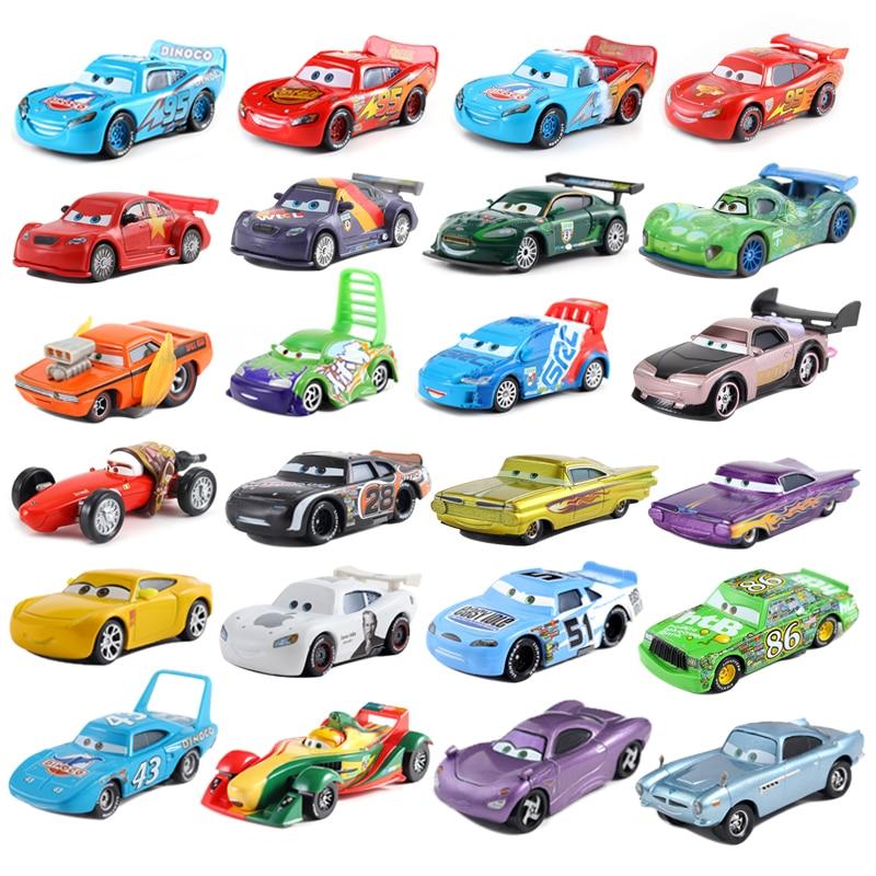 Disney coche de Pixar 2 3 Cyclone McQueen modelo 1:55 coche de aleación de metal fundido disne coche de juguete 2 niños cumpleaños/regalo de Navidad Disney Pixar coches 3 señorita Fritter Cal Jackson tormenta Dinoco Cruz Ramírez 1:55 Diecast Metal de juguetes modelo de coche regalo de cumpleaños para niños