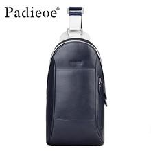 Padieoe Brand 2017 Fashion Chest Packs Men Messenger Bags Men's Genuine Leather Shoulder Bag  New Cross Body Bags Free Shipping