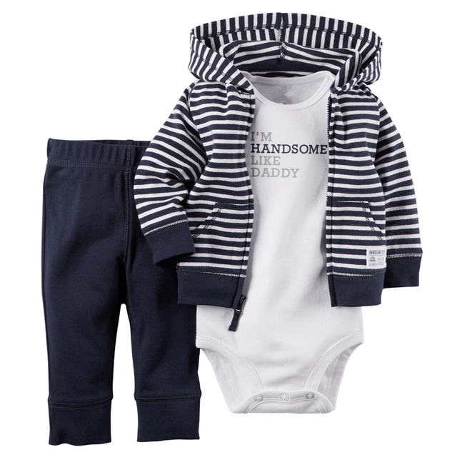Otoño Cardigan 3 unidades Bebé Fija al Bebé Recién Nacido de 6 Meses Pantalones y monos y Sudaderas Con Capucha A Rayas Ropa de la Marina de guerra