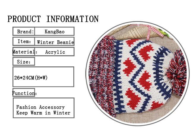 Acrylic Knitted Pattern Women Men Beanie Hat with Pom Pom (7)
