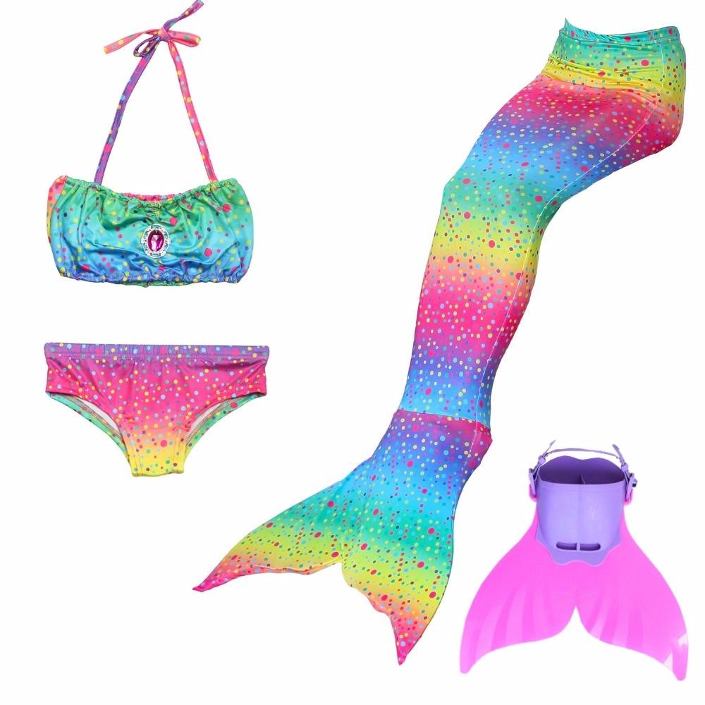 4pcs/set Girls Mermaid Tail with Monofin Fin Swimming Swimsuit Costumes Children Kids Mermaid Tail Kids Mermaid For girl