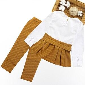 Image 2 - الفتيات الملابس مجموعة خليط قميص فستان + سروال مخطط ملابس الأطفال الربيع والخريف الاطفال في سن المراهقة الملابس للفتيات 8 10 11 12