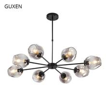 GUXEN Retro Led chandelier 3/6/8/12 Head AC110-240V gold/black body color Postmodern chandelier for living room,restaurant. guxen hero hulk head