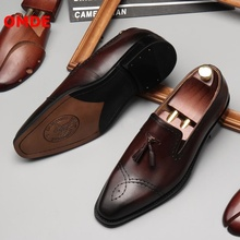 OMDE Loafers British Style Slip On Tassel Men Shoes Genuine Leather Business Casual Shoes Breathale Men's Party And Prom Shoes