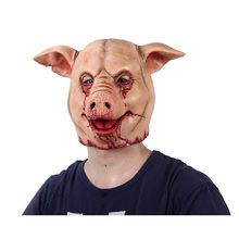 Orrore Maiale In Testa Animale Maschera In Lattice Maschera di Maiale Costume di Halloween Spaventoso Seghe Pig Mask Testa Completa Orrore Male Animale Prop(China)
