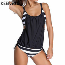 KEENEST 2018 Plus Size Tankini Two Piece Women Black Bathing Suit Padded Brasil Sexy Swimming Suit Stripe Bottom Sport Swimwear(China)