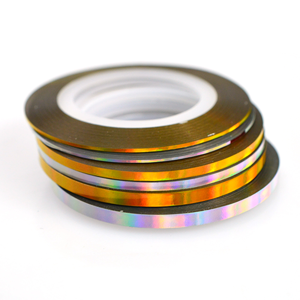Gold Striping Tape Nail Art: 1 Rolls Laser Gold/Silver Striping Tape Line Nail Art